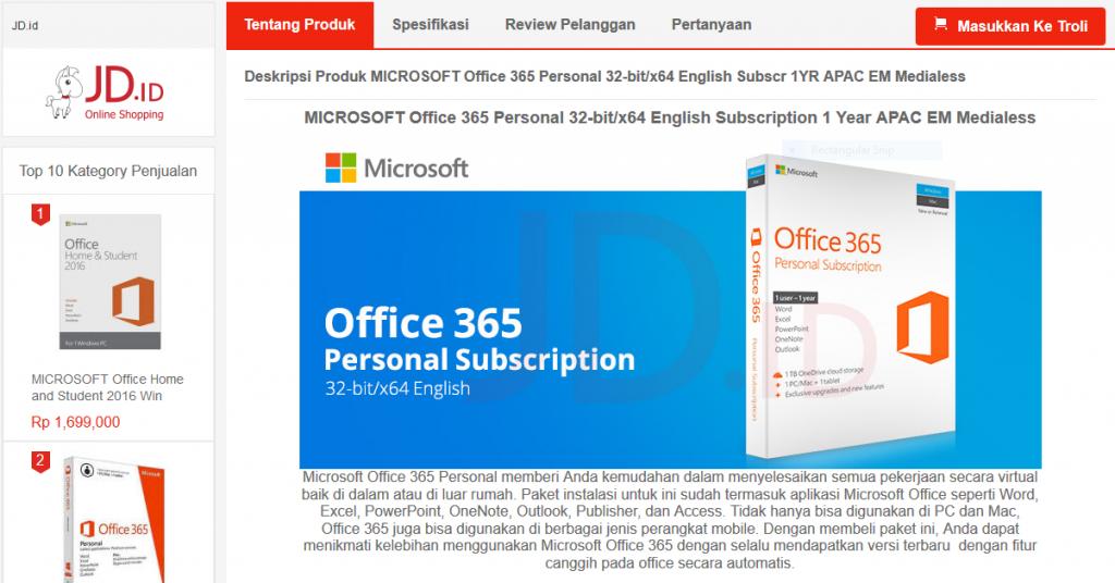Microsoft Office 365 di JD.ID