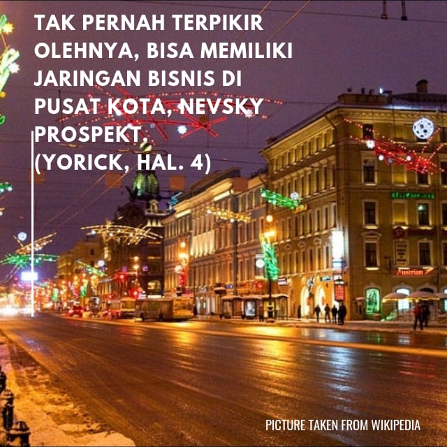 menjelaskan Novel Yorick, Nevsky Prospekt
